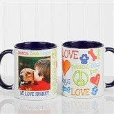 Peace, Love, Dogs Photo Coffee Mug 11oz.- Blue - 13349-BL