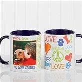Peace, Love, Dogs Photo Coffee Mug 11oz.- Blue - 13349-BL