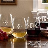 Luigi Bormioli® Engraved Monogram Stemless Wine Glass Set - 13361