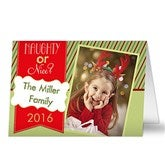Naughty or Nice Personalized Photo Christmas Card- 2 Photo - 13367-2
