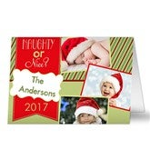 Naughty or Nice Personalized Photo Christmas Card- 3 Photo - 13367-3