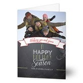 Chalkboard Greetings Photo Christmas Card - 13369