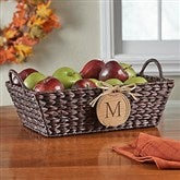 Fall Basket with Personalized Wood Pumpkin - Initial - 13388-I