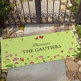 Floral Welcome Personalized Doormat-Oversized - 13448-O