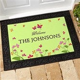 Floral Welcome Personalized Recycled Rubber Back Doormat - 13448-S
