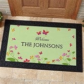 Floral Welcome Personalized Doormat- 20x35 - 13448-M