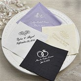 Wedding & Bridal Shower Napkins - Beverage Size - 13504D-B