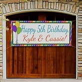 Party Stripe Personalized Birthday Banner - 13553
