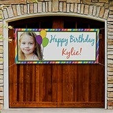 Party Stripe Personalized Photo Birthday Banner - 13554