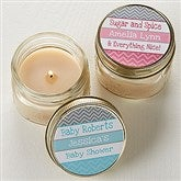 Chevron Baby Shower Personalized Mason Jar Candle Favors - 13558