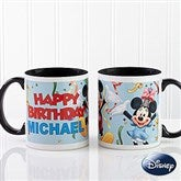 Disney® Personalized Happy Birthday Black Handle Coffee Mug - 13564