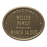 Established Oval Welcome Personalized Aluminum Plaque - 1356D