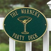 Party Time Personalized Aluminum Deck Plaque - Martini - 1357D-T