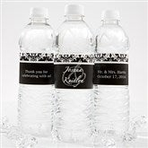 Damask Wedding Couple Personalized Water Bottle Label - 13609