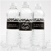 Damask Wedding Couple Personalized Water Bottle Labels - 13609
