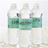 Party Time Swirls Personalized Water Bottle Labels - 13666