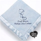 Precious Moments® Personalized Embroidered Blanket- Baby Blue - 13692-B