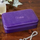 Plum Leather Personalized Jewelry Case- Name