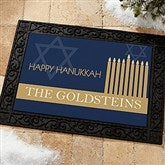 Hanukkah Personalized Recycled Rubber Back Doormat - 13783-S