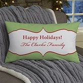 Classic Holiday Personalized Lumbar Photo Throw Pillow - 13791-LB