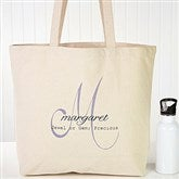 Name Meaning Monogram Personalized Canvas Tote Bag - 13804