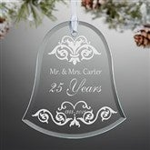 Damask Anniversary Bell Engraved Ornament