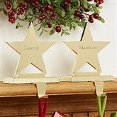 Engraved Brass Star Stocking Holders