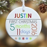 1-Sided Baby's 1st Christmas Personalized Age Ornament - 13825-1