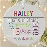 1-Sided Baby's 1st Christmas Personalized Age Ornament-Large - 13825-1L