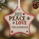 1-Sided Joy, Peace, Love Personalized Star Ornament - 13851-1