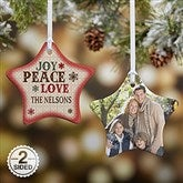 2-Sided Joy, Peace, Love Personalized Star Photo Ornament - 13851-2