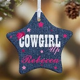 1-Sided Cowgirl & Cowboy Up Personalized Star Ornament - 13852-1