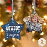 2-Sided Cowgirl & Cowboy Up Personalized Star Ornament - 13852-2