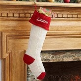 Classic Cable Knit Embroidered Knit Stockings - 13853-R