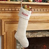 Classic Cable Knit Embroidered Knit Stockings - 13853-I