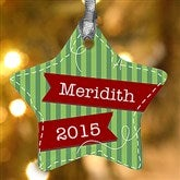1-Sided Striped Star Personalized Ornament