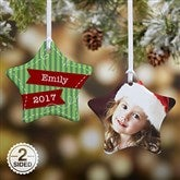 2-Sided Striped Star Personalized Ornament - 13858-2