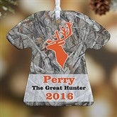 1-Sided Deer Hunter Personalized T-Shirt Ornament - 13860-1