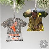 2-Sided Deer Hunter Personalized T-Shirt Ornament - 13860-2