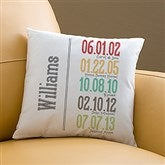 Milestone Dates Family Personalized Throw Pillow