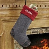 Northwoods Plaid Embroidered Stocking Collection- Grey - 13902-G