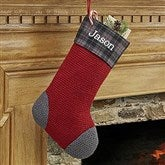 Northwoods Plaid Embroidered Stocking Collection- Ruby Red - 13902-R