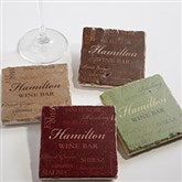 Wine Please Personalized Tumbled Stone Coaster Set - 13941