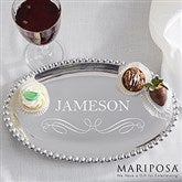 Mariposa String of Pearls Personalized Oval Tray - 13946
