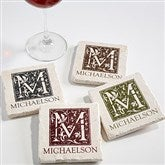 Floral Monogram Tumbled Stone Coaster Set - 13981