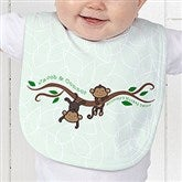 Two Little Monkeys Personalized Baby Bib - 14002-B