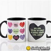 SmileyWorld® Loving Hearts Personalized Black Handle Coffee Mug Romantic- 11 oz. - 14013-B