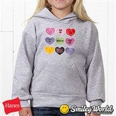 SmileyWorld® Loving Hearts Personalized Youth Hooded Sweatshirt - 14016-YHS