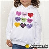 SmileyWorld® Loving Hearts Personalized Toddler Hooded Sweatshirt - 14016-THS