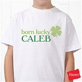 Born Lucky Personalized Hanes® Youth T-Shirt - 14055-YCT
